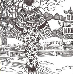 Zentangle girl in Kimono by Margie Whittington