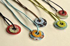 Washer Necklaces using mod podge and paper
