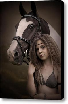 A Girl And Her Pony Stretched Canvas Print / Canvas Art By Ethiriel  Photography