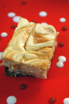 Caramel Swirl Cheesecake Bars from Awesome on 20