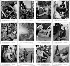 Later this year USPS will issue Made in America: Building a Nation, a sheet of 12 stamps honoring the men and women who helped build our country. Five different stamp sheets will be available. All of them will contain the same stamps, but each will be anchored by a different larger image. Two of the sheets will feature photographs of Empire State Building iron workers. The others will show images of a General Electric worker measuring the bearings in a casting, a coal miner, and a female welder.