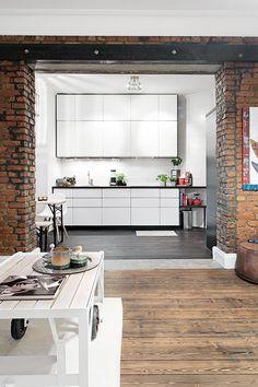 interior design, house design, floor, design interiors, kitchen cupboards, bricks, exposed brick, industrial design, white kitchens