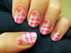 Valentine's Sweetheart Plaid Nail Art