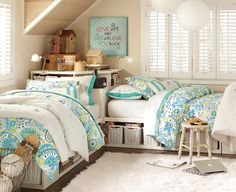 The two beds forming an L , on the platform with basket storage underneath is exactly what I am looking for to make day beds in our sunroom!  .... PB bedroom inspiration.
