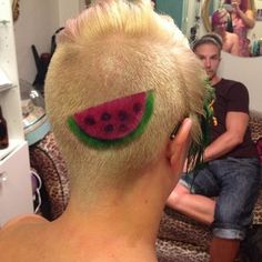 New trend pink watermelon on blonde hair. Fruit hair tattoo by Lucy Lopez