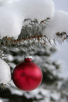christmas snow, red bauble. More Christmas lusciousness here: http://mylusciouslife.com/photo-galleries/wining-dining-entertaining-and-celebrating