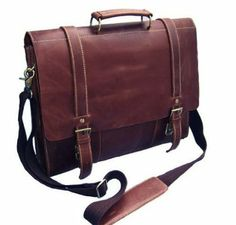 """Cairo"" Men's Full Grain Leather Large Briefcase Computer Bag - Oxblood / $119"