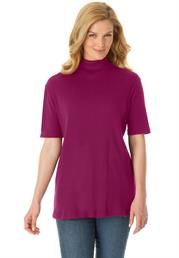 Mid-Sleeve Turtleneck in soft ribbed knit. #PlusSize