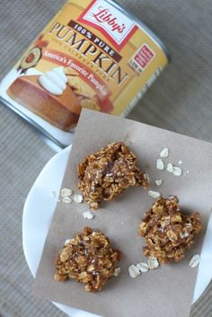 Spiced Pumpkin & Oatmeal No-Bake cookies - Click image to find more Holidays & Events Pinterest pins