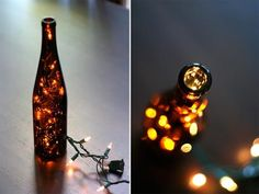 Empty bottle, drill and Christmas lights= super cute decor!