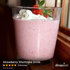 Strawberry Shortcake Drink | A strawberry shortcake milkshake…with vodka and amaretto! Sometimes it's good to be a grownup. So good.