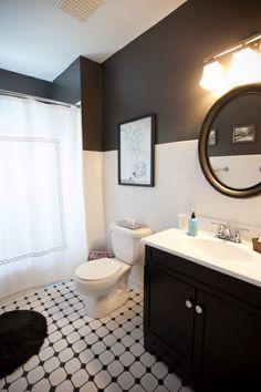 Dark gray walls bathroom