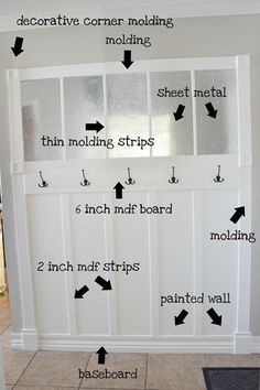 Entry/mud room wall tutorial...love that it has sheet metal on top.  Might consider painting  metal with chalkboard paint.