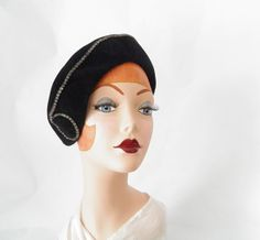 1930s tilt slouch hat black with rhinestones by TheVintageHatShop, $50.00