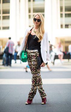 Rebecca Minkoff bag fashion weeks, printed pants, outfit, fashion news, street styles, print pant