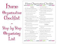 household organization | Home Organization Checklist - PDF Printable - Basic Organizing List