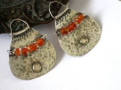 Large Silver Carnelian HoopsTribal Silver Gold by rioritajewelry, $140.00