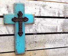 Handmade Distressed Shabby Turquoise & Brown Painted Wooden Cross with Metal Cross. Christian, Easter