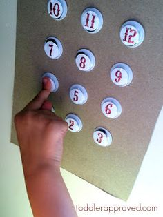 """Toddler Approved!: """"Pressing The Buttons"""" - Homemade Elevator Activity practice numbers, order vocabulary (1st, etc.) and math (go up 2 floors, etc.)"""