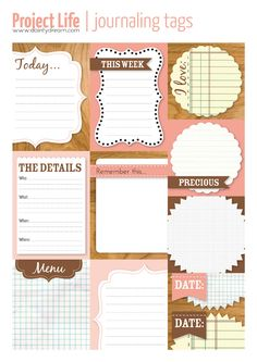 journaling tags freebie for project life