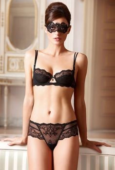Black Lace Mask & #Sexy Sheer #Lingerie by Lise Charmel