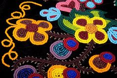 Métis Octopus bag beadwork close-up
