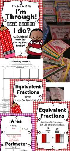 I'm Through! What Should I Do? CCSS Aligned Math Activities for Early Finishers in 4th Grade!
