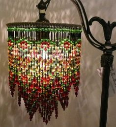 Victorian Triple Beaded Lamp Shade in Amber, Green, Black and Cranberry