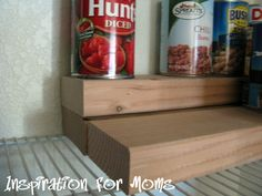 Risers for canned food from wood scrap. Cheap and amazingly great idea
