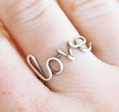Oxidized Sterling Silver Love Ring by Karismabykarajewelry on Etsy, $24.00