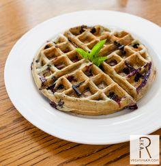 Bhakti Chai Unsweetened, Raspberry Coconut Vegan Yogurt & Blueberry Waffle