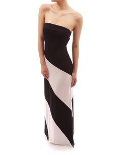 PattyBoutik Striped Strapless Spring Summer Beach Tube Maxi Dress