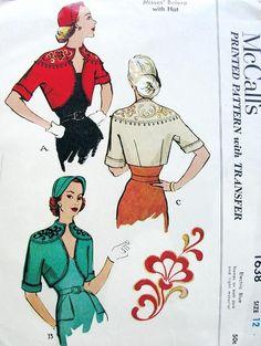 1950s Beautiful Bolero Jacket, Hat and Embroidery Transfer Pattern Striking Shaped Neckline Matador Style Jacket McCalls 1638 Vintage Sewing...