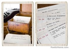 A perpetual anniversary gift. In the form of a card catalog, record important dates and events of your relationship, and add new ones as they occur.