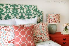 DIY headboard and pretty coral sidetable ikat fabric, dorsey design, color schemes, color combos, guest bedrooms, color patterns, diy headboards, upholstered headboards, guest rooms