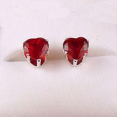 10 carat Heart Cut Red Fire Garnet CZ 5mm Stud Post by 1000jewels, $11.00