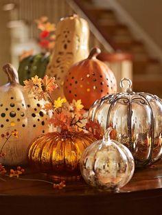 fall displays, fall decor, mercury glass, fall pumpkins, fall table decorations, pottery barn, halloween, fall accessories, autumn decorations