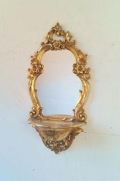 """Wall Shelf: Syroco Mirror with 9"""" x 4.5"""" Shelf"""