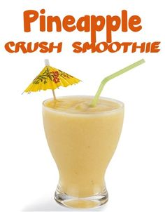 Pineapple Crush Smoothie Recipe! #smoothies 1/2 cup orange juice 1/2 cup pineapple juice 1 cup frozen pineapple chunks 1/2 frozen very ripe medium banana How to make it  Blend all ingredients together. Serves 2.