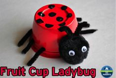 Cute Ladybug craft made out of a plastic fruit cup.
