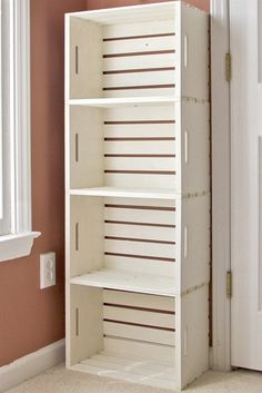 DIY crate bookshelf made from wooden crates from the craft store (Michaels under $13