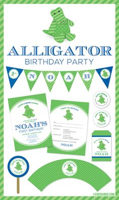 parti stuff, birthday party invitations, allig parti, birthday parties, theme parties, parti idea