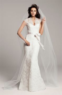 Theia Lace Overlay Cap Sleeve Gown via @Nordstrom #wedding