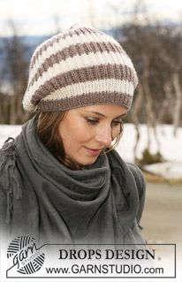 """Knitted DROPS hat in English rib and stripes in """"Karisma"""". ~ DROPS Design"""