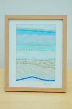 Framed fabric abstract picture - an embroidered artwork textile picture £40.00