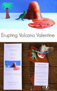 Woah, how cool is this? Erupting Volcano Dinosaur Valentine (with free printables!)