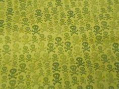 skulls, quarter lime, hunt, lime green, crossbon, fat quarter, 1yd lime, limes, green skull