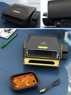 The Brainwave, by Stephen Gates. Put meal inside, swipe RFID tag in accompanying fork thru machine to program cooking instructions, it will count down on your computer until it is ready, eat at your desk! Just awesome!