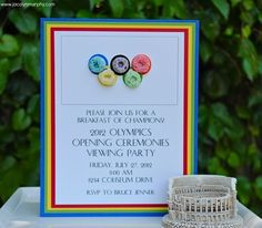 olympic viewing party invite. Love those fruit loops!