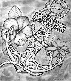 tattoo idea, bright colored tattoos, anchor tattoo white, anchor tattoo design, surfboard tattoo, hibiscus flower, hibiscus anchor tattoo, art tattoos, anchor design tattoo
